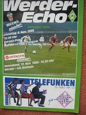 WERDER BREMEN v GLASGOW CELTIC 8th November 1988 European Cup