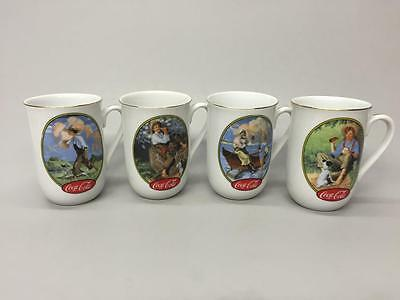 4 Coca Cola 1987 Museum Collection Coffee Cups Mugs Wyeth & Rockwell Art Scenes