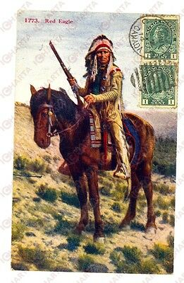 1914 NATIVE AMERICANS Indian Chief RED EAGLE *Postcard VINTAGE FP VG