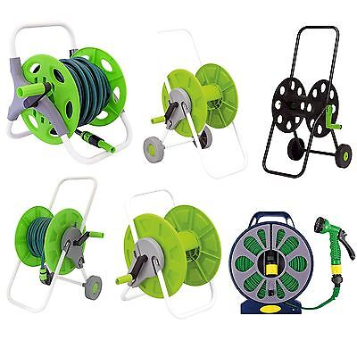 15m 25m 60m Flat Hose Pipe Reel Trolley Cart Water Hosepipe Reinforced Tough