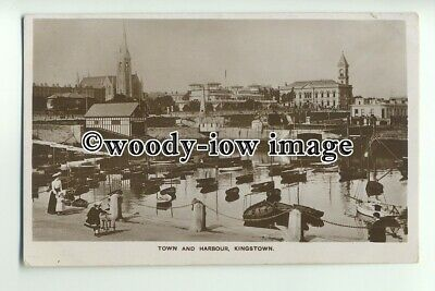 cu1888 - Town, Harbour and Two Churches at Kingstown, Co Dublin - Postcard