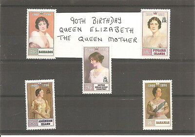 COLLECTION OF 5   QUEEN MOTHER  90th BIRTHDAY  MINT  STAMPS
