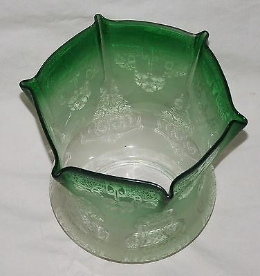 Antique Victorian Acid Etched Green Tinted  Duplex Oil Lamp  Glass Shade