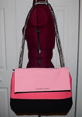 Victoria's Secret Pink/Black Neoprene Tote Insulated Beach Bag Long Strap NWT