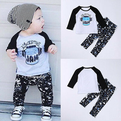 New 1Set Infant Toddler Baby Boy Letter Print T-shirt Tops+Pants Outfits Clothes