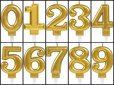 Gold Metallic Number Candle Birthday Cake Party Celebration Candles with Holder
