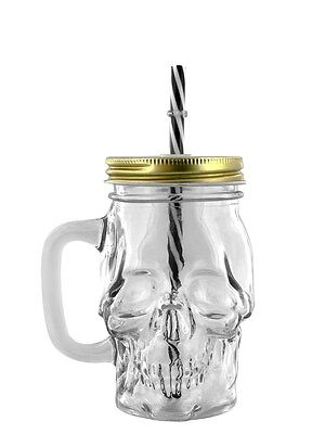 Glass Skull Drinking Jar with Metal Lid and Straw Drinking Glass 11x13x8.5cm