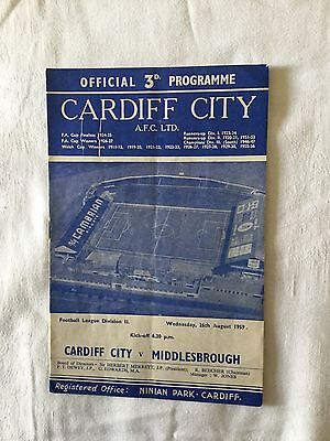 CARDIFF CITY v MIDDLESBROUGH 1959/0.