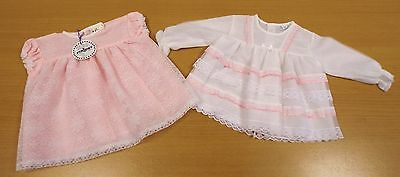 2 x VINTAGE 1970's UNWORN GIRLS PINK & WHITE NYLON & LACE DRESSES AGE 6 MONTHS