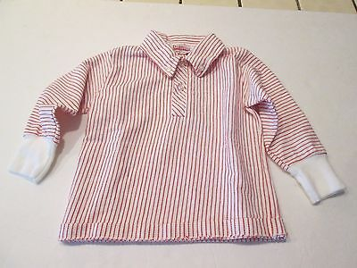Vtg 1950s 1960s Donmoor RED COMBED COTTON LONG SLEEVE PULLOVER SHIRT Boys 2T