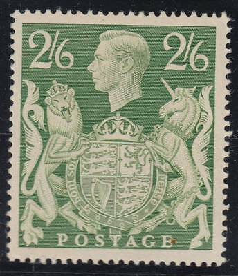 1942 2s 6d. yellow-green SG 476a - fine unmounted mint. Cat. £15.