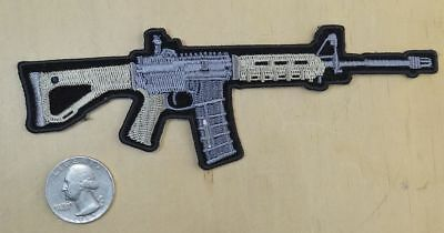 "AR 15 RIFLE IRON-ON / SEW-ON EMBROIDERED PATCH 6""x 2 """