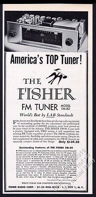 1953 Fisher FM-80 tuner photo vintage print ad