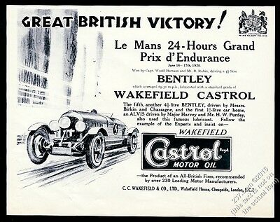 1928 Bentley 4.5 litre Birkin Chassagne race car Castrol Oil vintage print ad