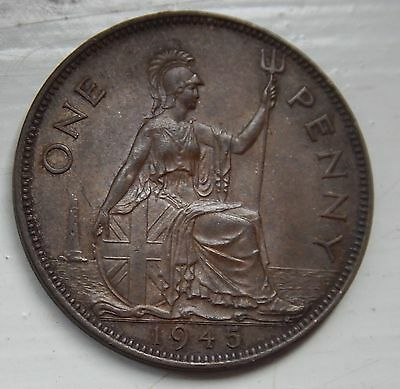Penny George VI 1945 UNC Mint Toned