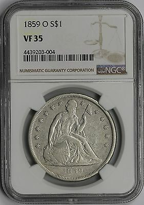 1859-O Liberty Seated Dollar $1 VF 35 NGC