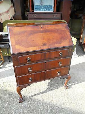 Beautiful Antique Mahogany Bureau Desk with Ball & Claw Feet