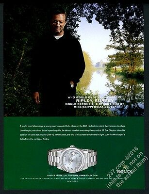 2005 Eric Clapton photo Rolex Oyster Perpetual Day-Date watch vintage print ad