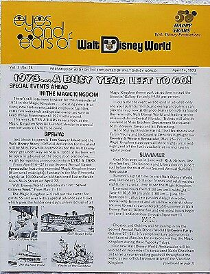 Rare April 1973 Disney Wdw Eyes & Ears Cast Newsletter Magic Kingdom Events