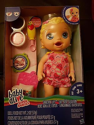 Baby Alive Snackin' Lily (Blonde) Baby Doll - New in hand 2017 release