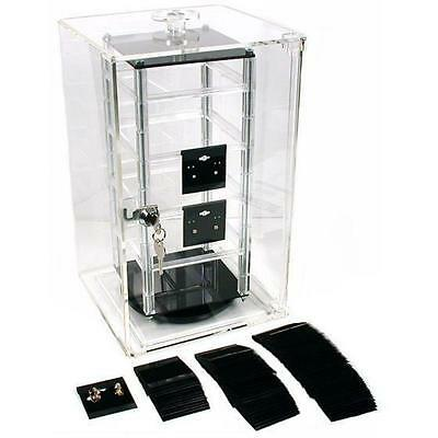 """100 Earring Cards & Revolving Rotating Display Case 8.5"""""""