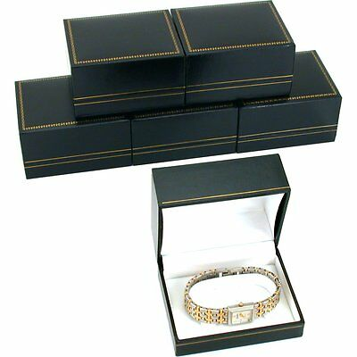 6 Black Leatherette Watch Bracelet Boxes Jewelry Gift