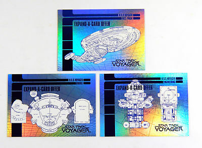 Star Trek Voyager Season 1 Series 1 Blueprint Expand-A-Cards Chase Set (X1-X3)
