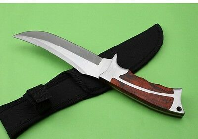 "10"" Rose Wood Handle Outdoor Camping Fishing Knife Survival Sports Knife"