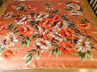 VINTAGE HAND ROLLED FLORAL SILK SCARF.  31 x 30 INCHES.  PRETTY!