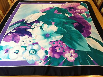 VINTAGE FLORAL SILK SCARF BY SYMPHONY.  VGC.  34 x 33 INCHES.  SO PRETTY!