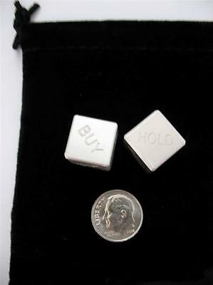 1 PAIR .999  SILVER MARKET BUY SELL HOLD DICE 2-1oz EACH  W/COA & POUCH + GOLD