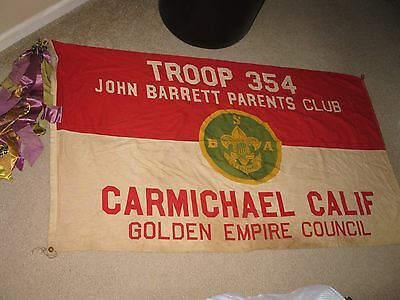 Vintage 1960'-1970's Boy Scouts large sized troop/club flag banner (57 x 33.5)