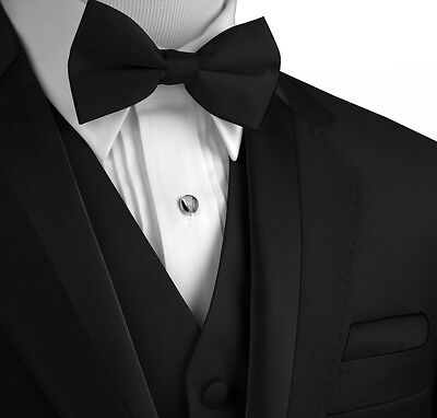 Men's XS - 6XL Reg. & Long  Black Satin Formal Tuxedo Vest, Bow-Tie & Hankie Set