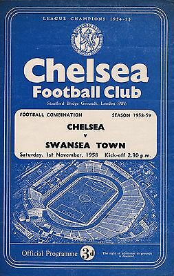 CHELSEA Res  v  SWANSEA TOWN Res  ( Comb )  1958/9.