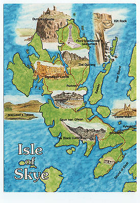 (P1213) Picture Map of The Isle of Skye. Whiteholme Postcard