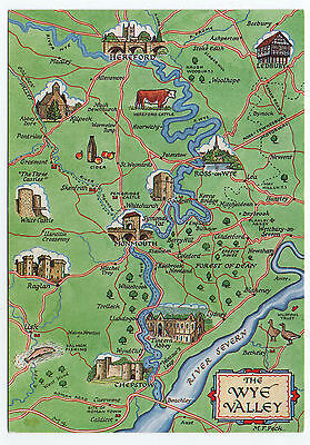 (P1216) Picture Map of The Wye Valley. Salmon Watercolour Postcard