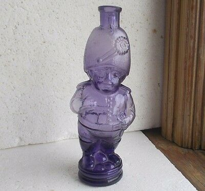 1880s FIGURAL FAT LITTLE SOLDIER COLOGNE BOTTLE AMETHYST HAND BLOWN ORIGINAL