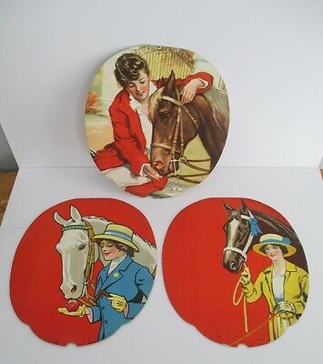 Vintage Salesman's Sample Advertising Fan Lot of 3 with HORSES & PRETTY LADY ART
