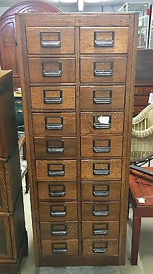 Antique Oak 20 Drawer Card File Cabinet Absolutely Stunning Condition and Finish