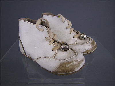 Antique Vintage White Leather Little Girl's Shoes w/ Bells