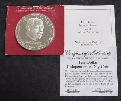 1974 Bahamas Proof $10 Independence Day Coin .925 Silver 1.4995oz Pure W/ COA