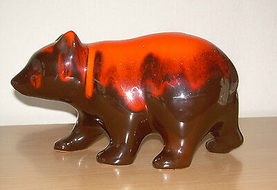 Pottery Grizzly Bear.Large 9 X 5 inch Blue Mountain? Brown red.Vintage