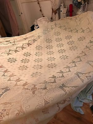 Vintage Polyester Lace Tablecloth Cream Large Size