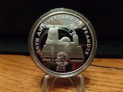 2000 Niue Snoopy & Woodstock 50th Anniversary of Peanuts Proof Silver $10