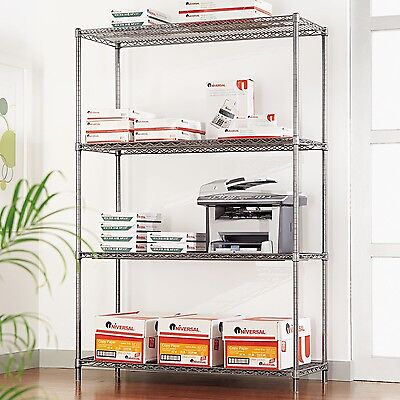 Alera 4-Shelf Wire Shelving Rack | 48 x 18 72 | NSF | Black Anthracite