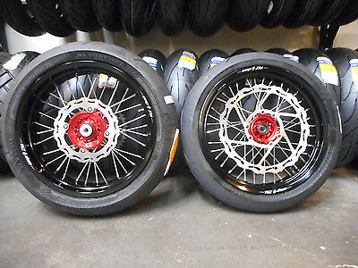 """Supermoto 17"""" Wheels W/ Tires & Oversized Rotor Red Crf250L"""