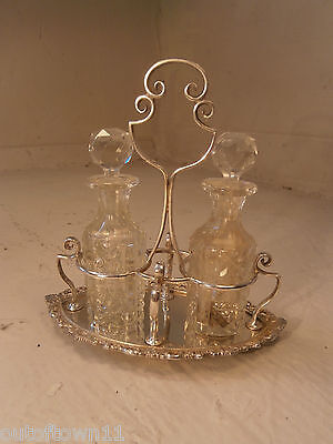 Cut Glass Bottle Silver Plate Condiment , Cruet Set     ref 493