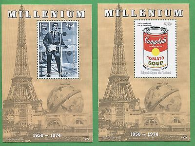 Millenium Buddy Holly Andy Warhol Eiffel Tower Souvenir Stamp Sheet Chad E72BC