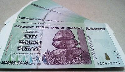 1- 50 Trillion Zimbabwe  UNCIRCULATED 2008 AA, 50 Available, 100 trillion series