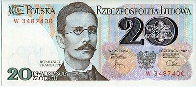 Poland 1982 20  Zlotych Currency Unc